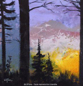 Quand le jour s'éclipse - Acrylique sur toile -14x14pouces - vendue - LiliFlore - peinture acrylique contemporaine